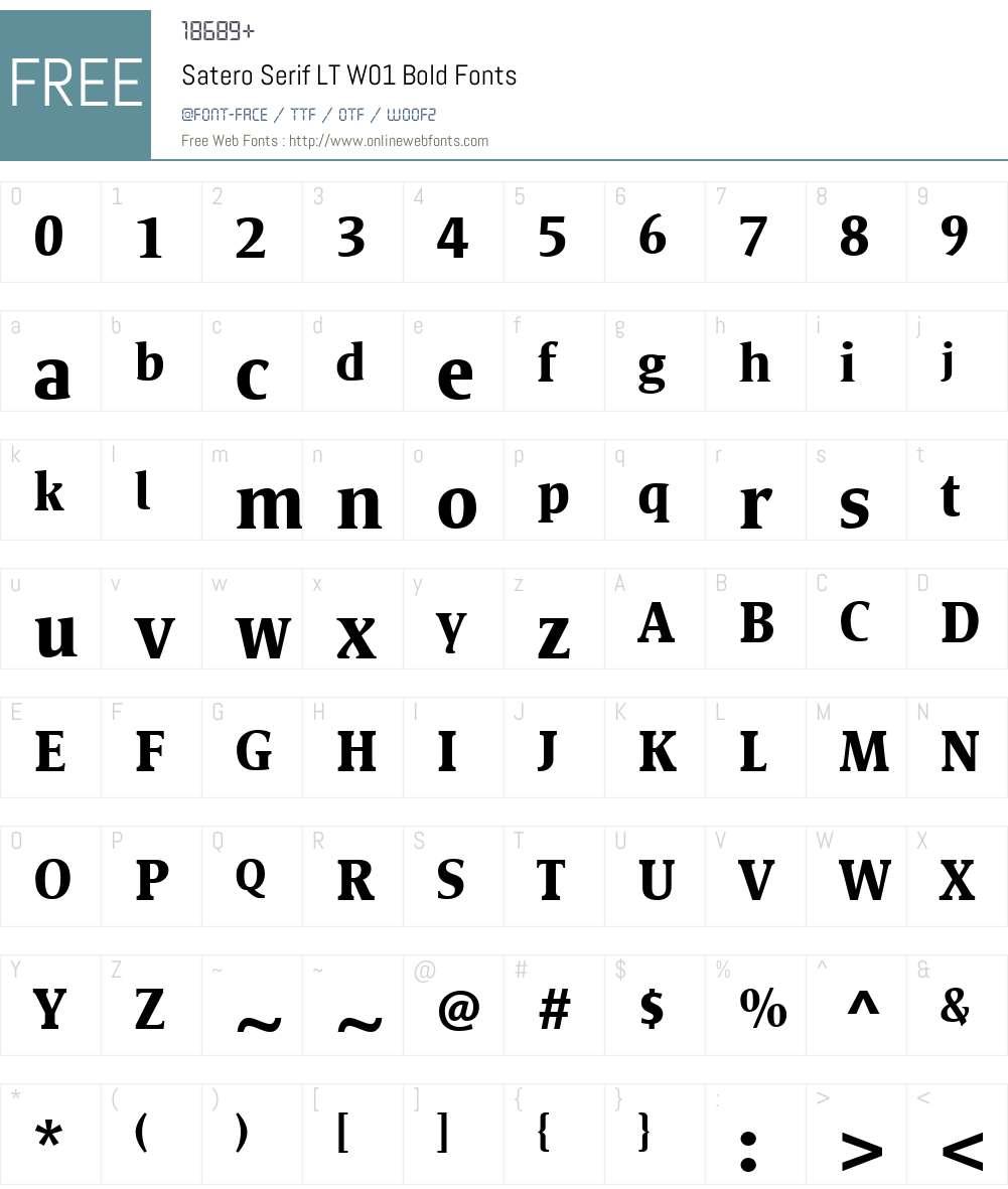 SateroSerifLTW01-Bold Font Screenshots