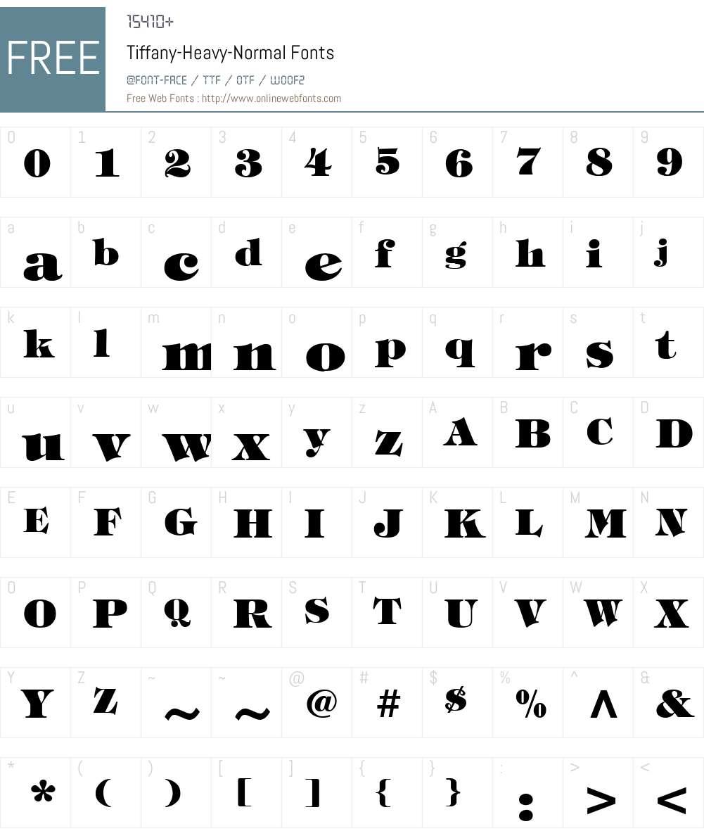 Tiffany-Heavy-Normal Font Screenshots