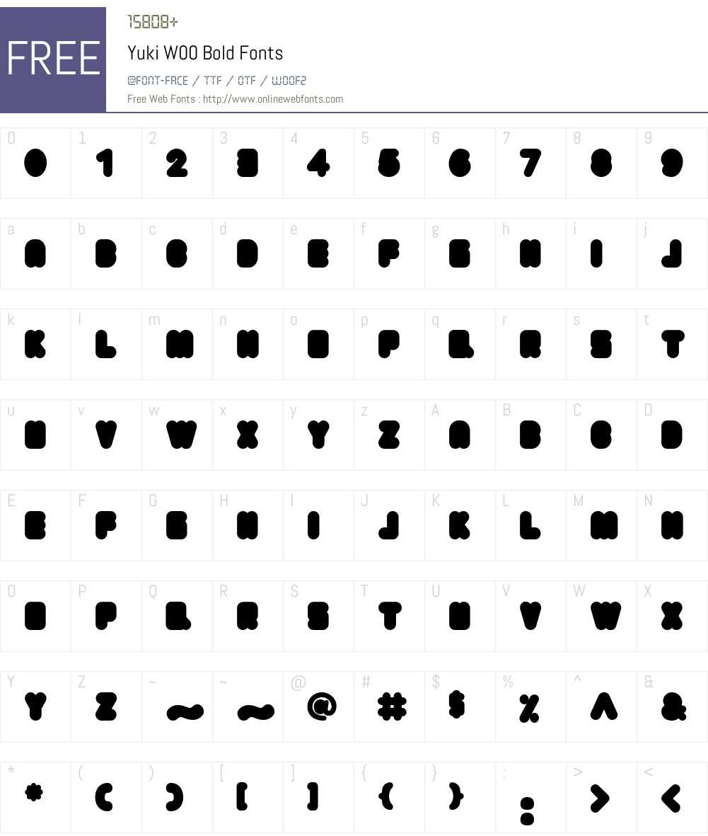YukiW00-Bold Font Screenshots