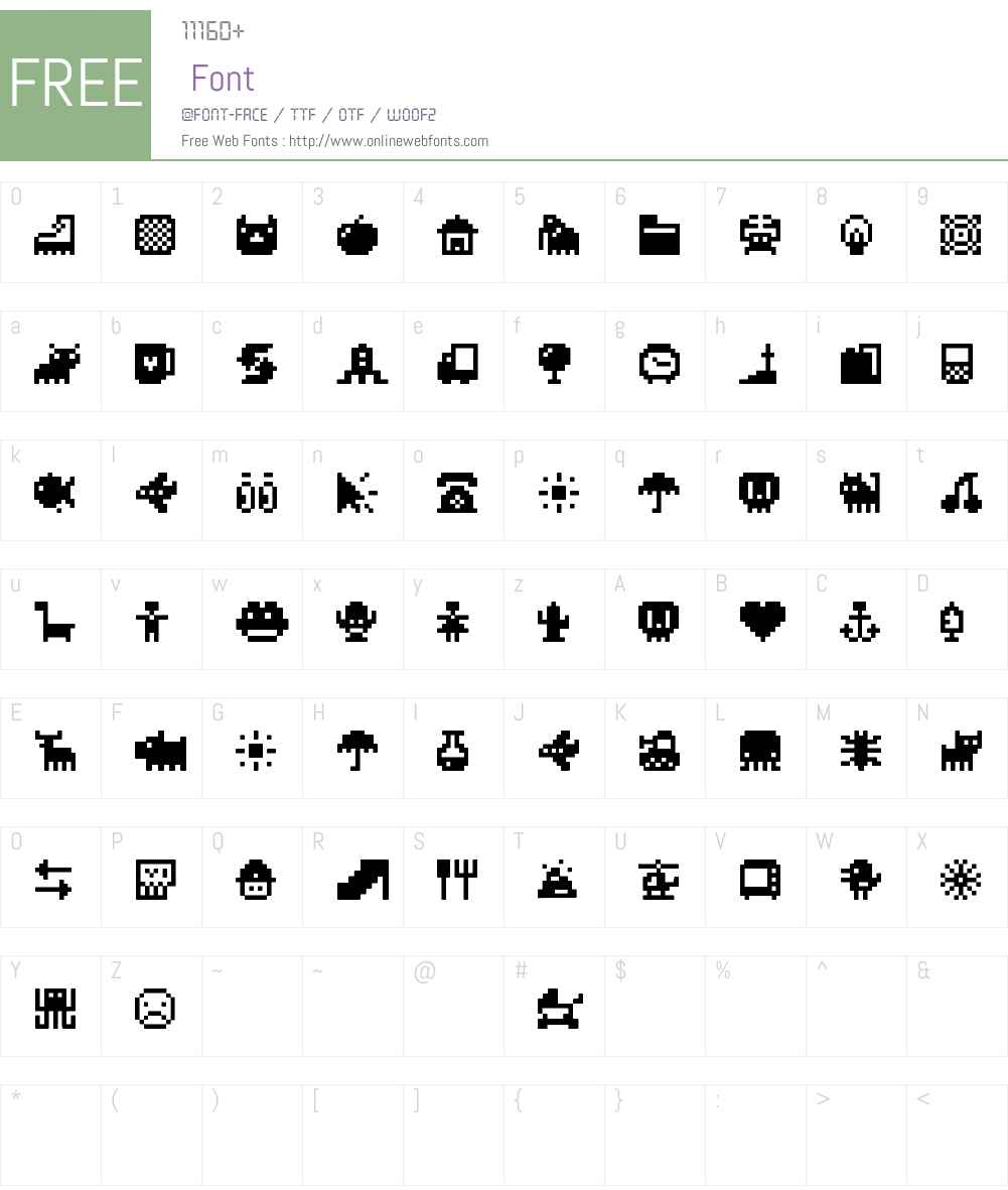 Pixel Icons Compilation Font Screenshots