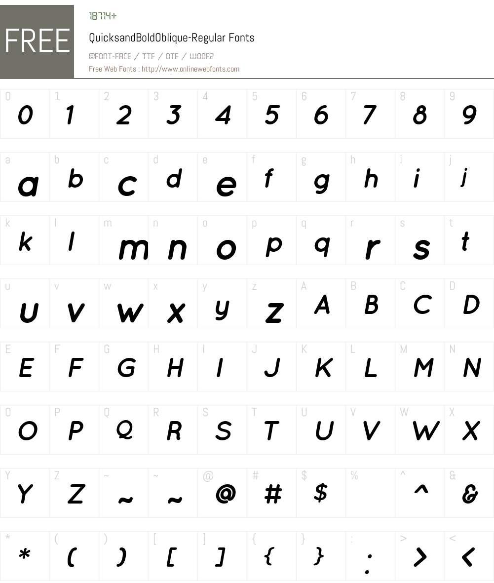 Quicksand Bold Oblique Font Screenshots