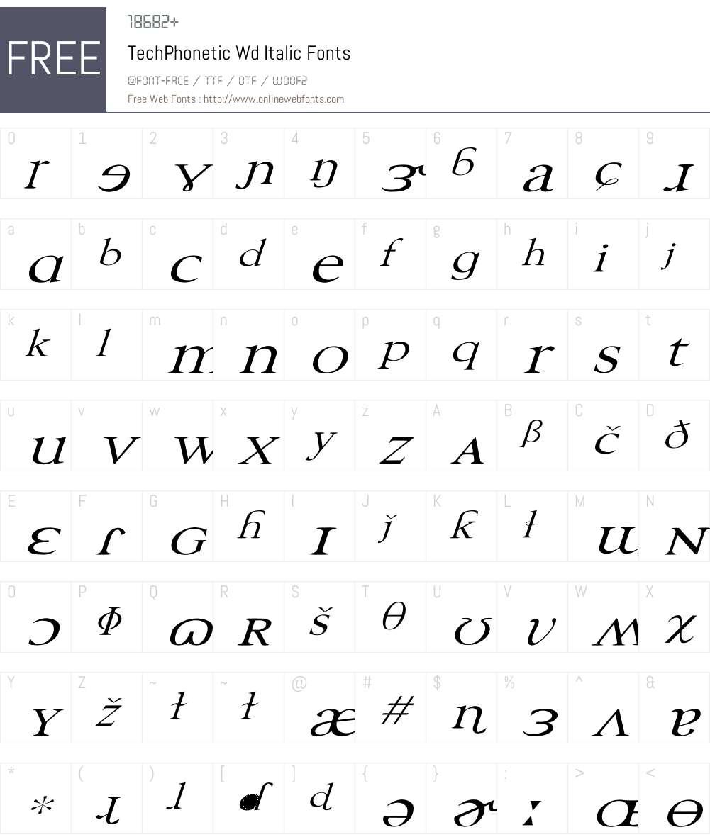 TechPhonetic Wd italic Font Screenshots