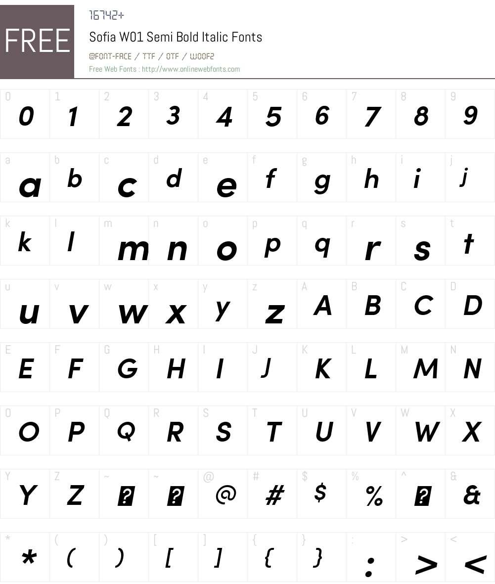 SofiaW01-SemiBoldItalic Font Screenshots