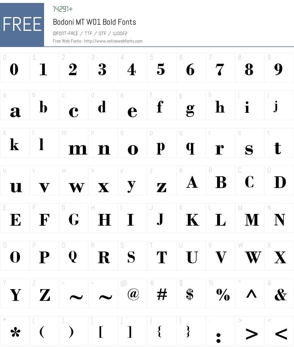 BodoniMTW01-Bold Font Screenshots