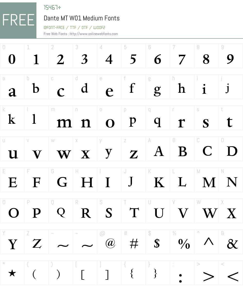 DanteMTW01-Medium Font Screenshots