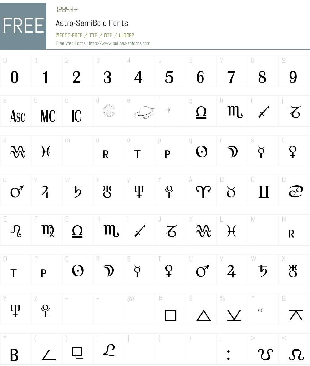 Astro-SemiBold Font Screenshots