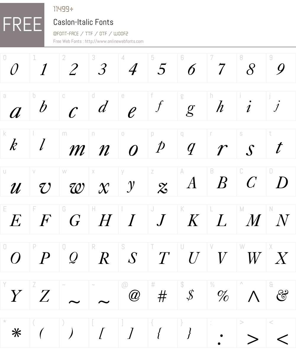 Caslon-Italic Font Screenshots