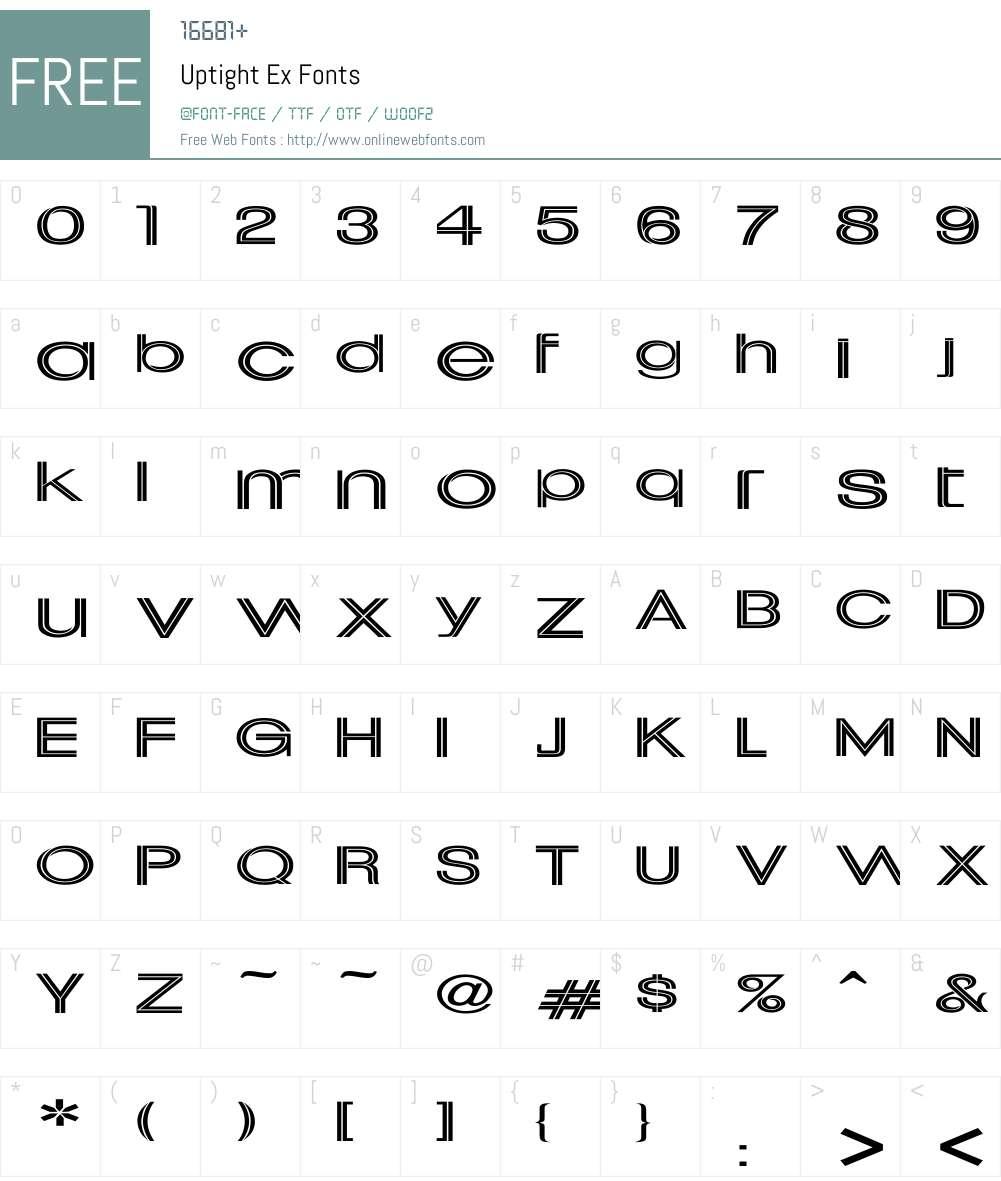 Uptight Ex Font Screenshots