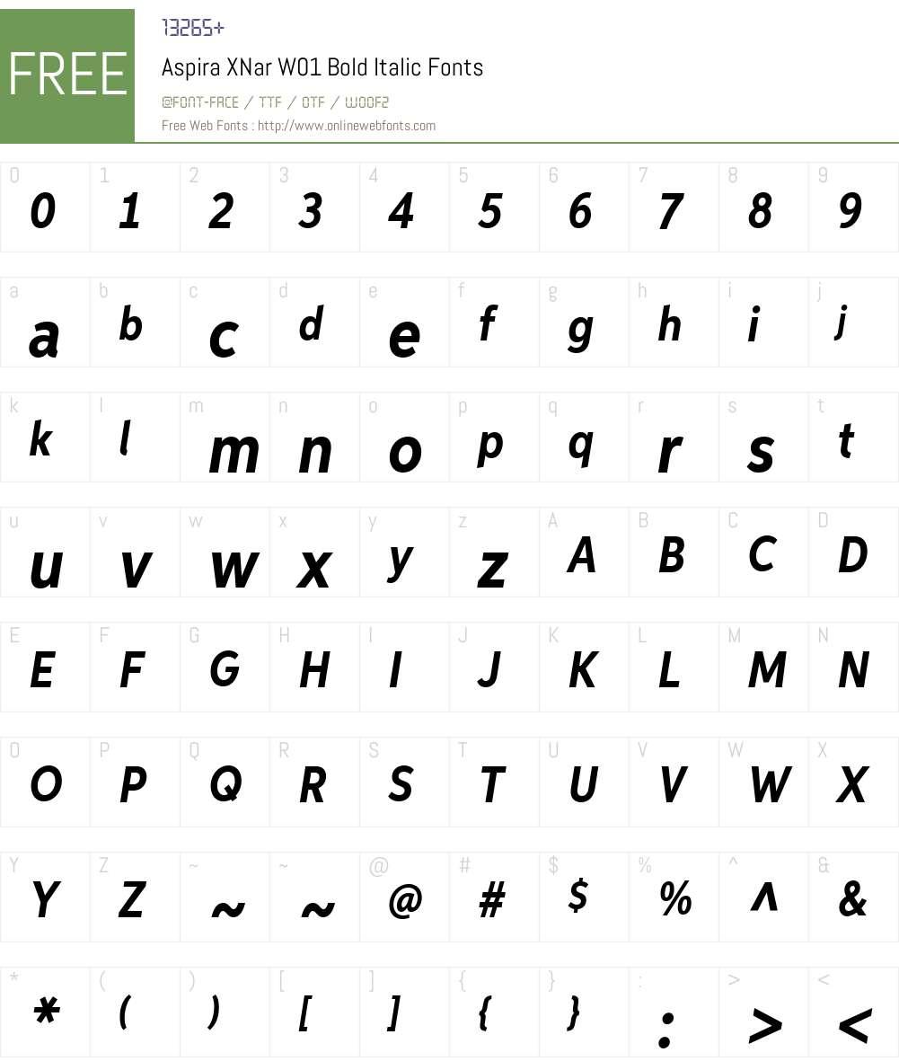 AspiraXNarW01-BoldItalic Font Screenshots