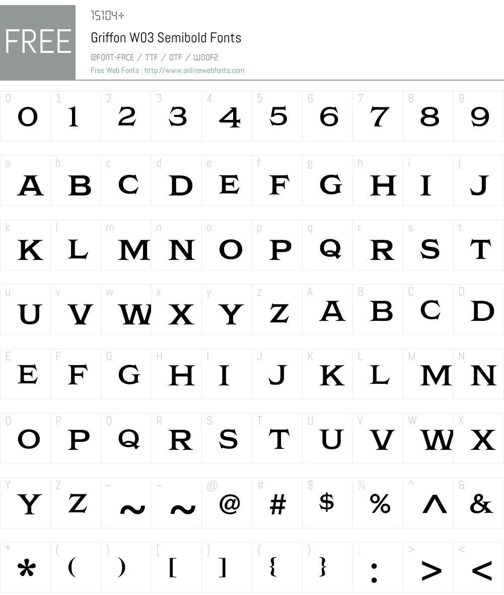 Griffon Font Screenshots