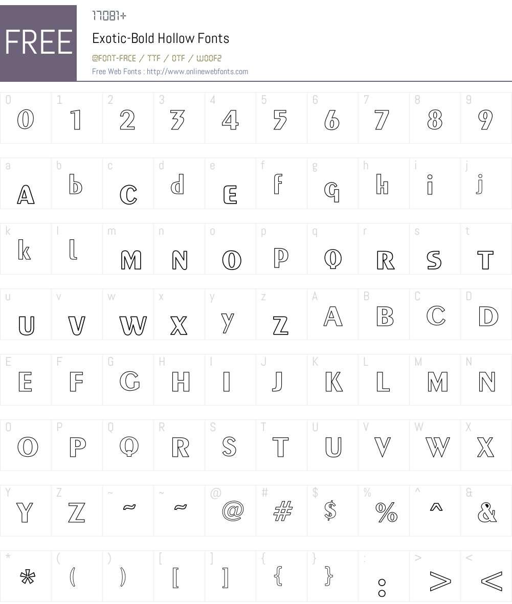 Exotic-Bold Hollow Font Screenshots