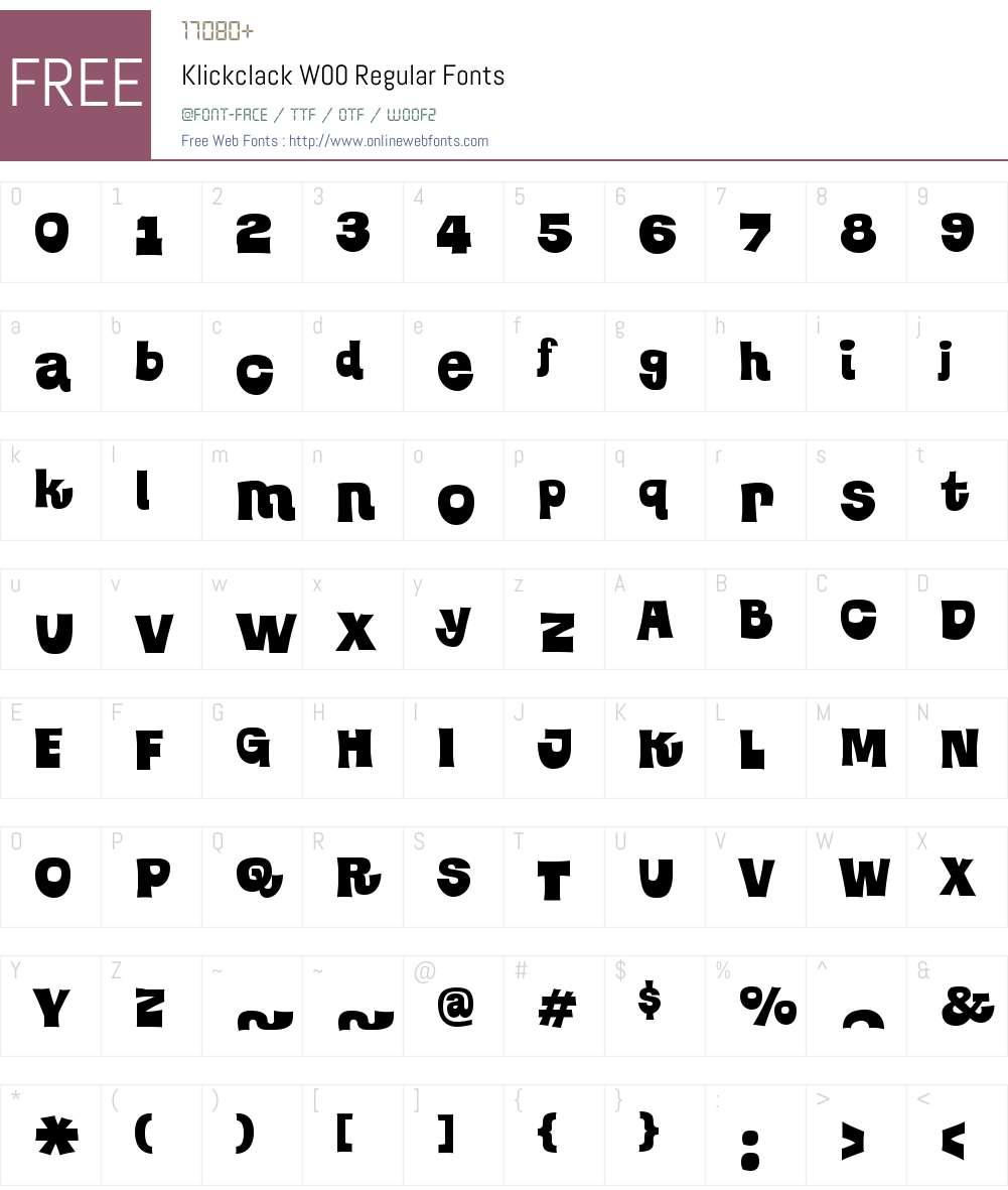 KlickclackW00-Regular Font Screenshots