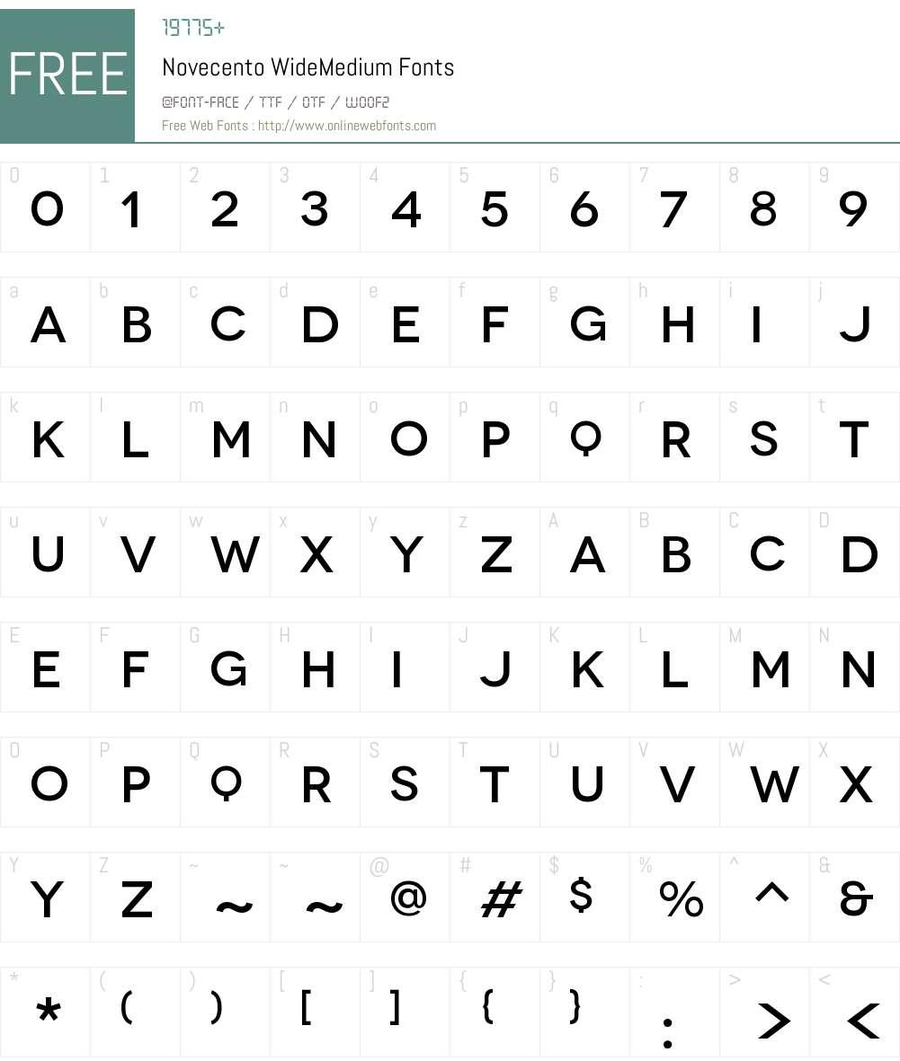 Novecento Wide Medium Font Screenshots