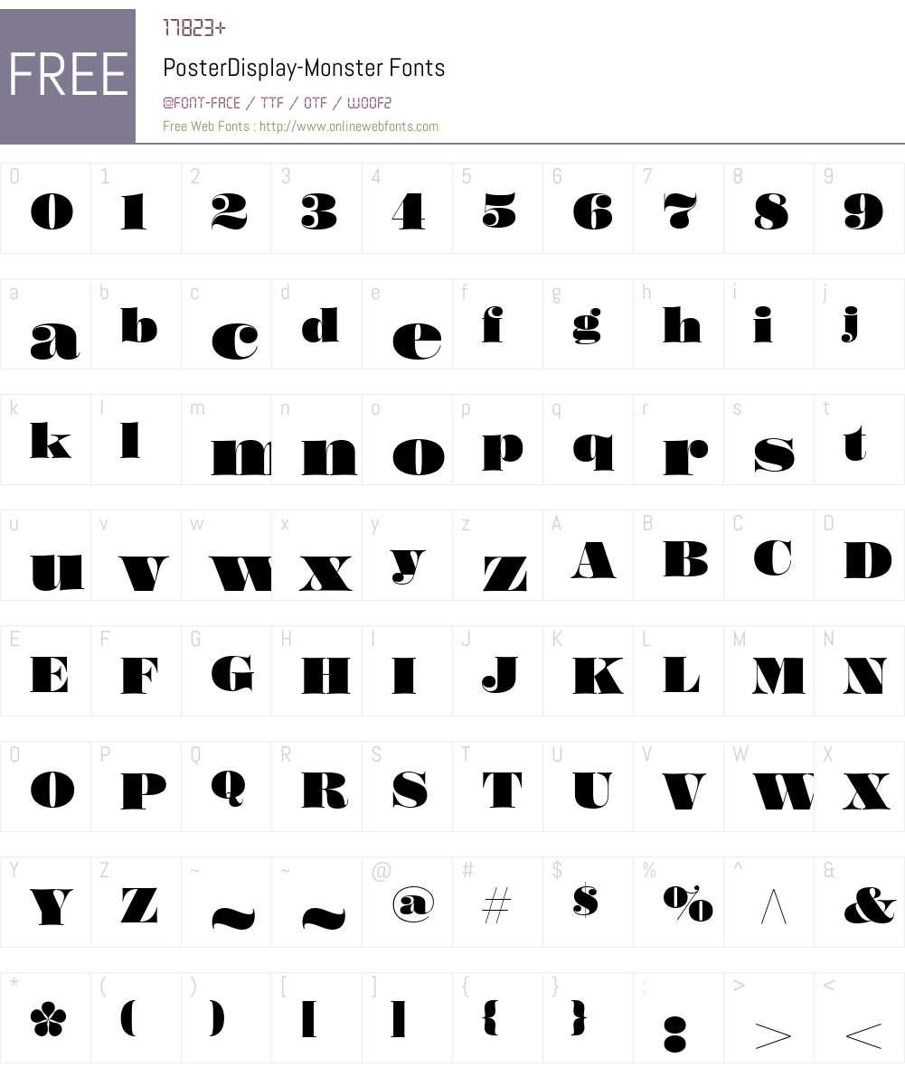 PosterDisplay-Monster Font Screenshots