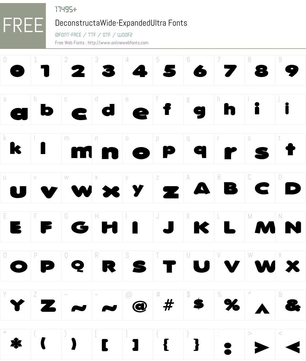 DeconstructaWide Font Screenshots