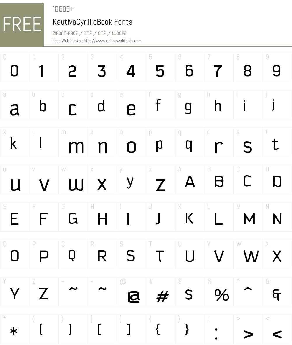 Kautiva Cyrillic Book Font Screenshots