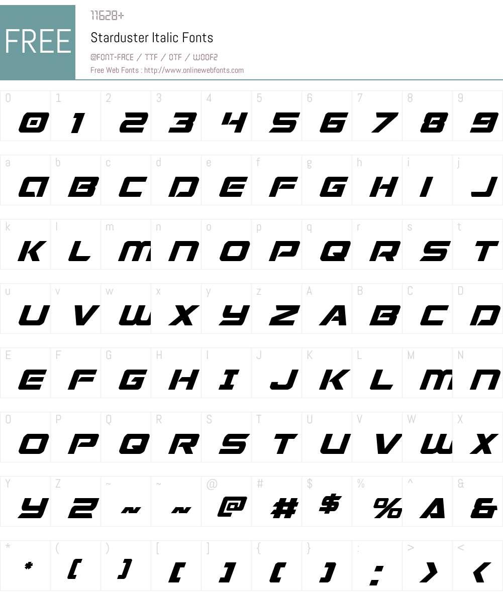 Starduster Italic Font Screenshots