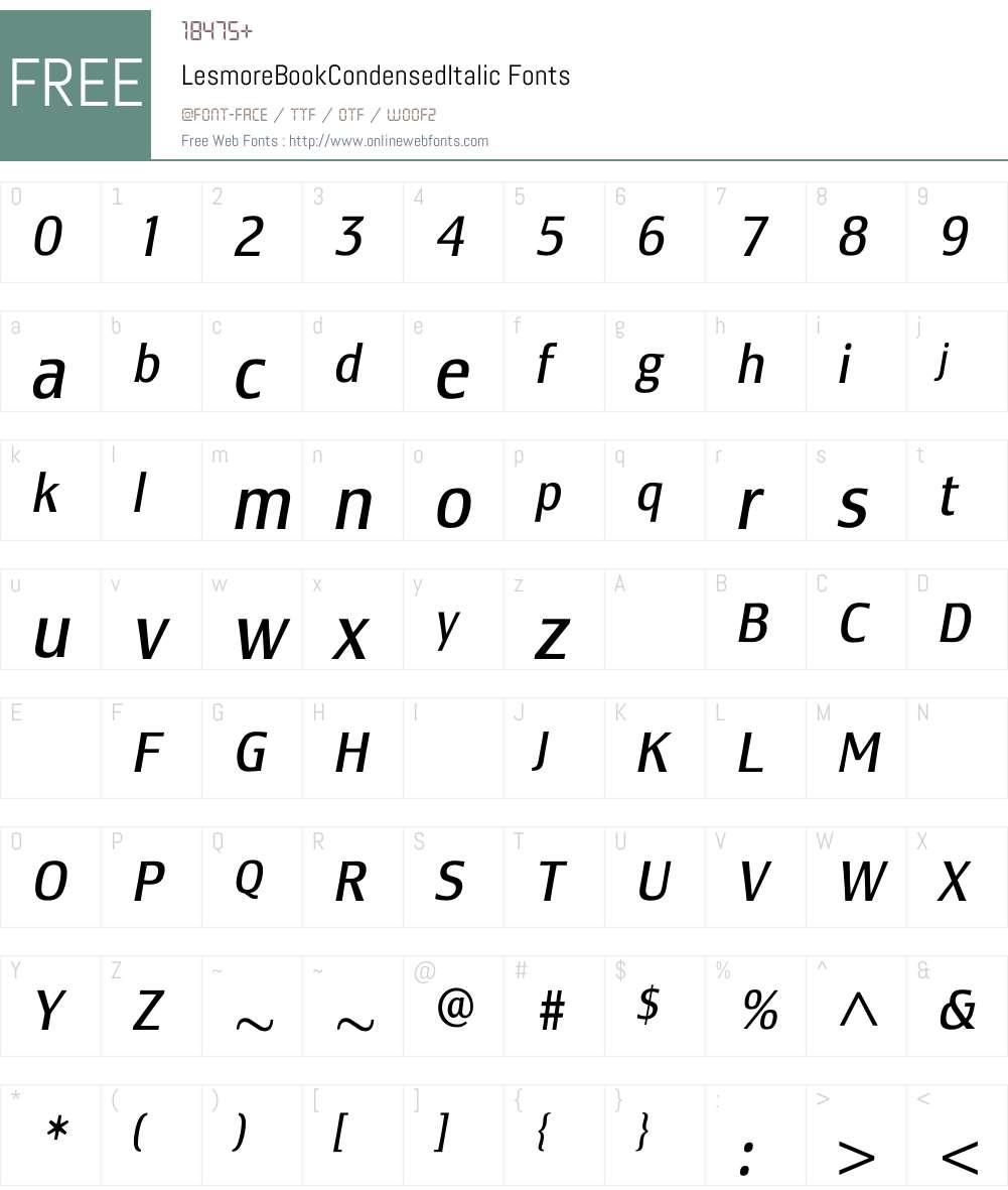LesmoreBookCondensedItalic Font Screenshots