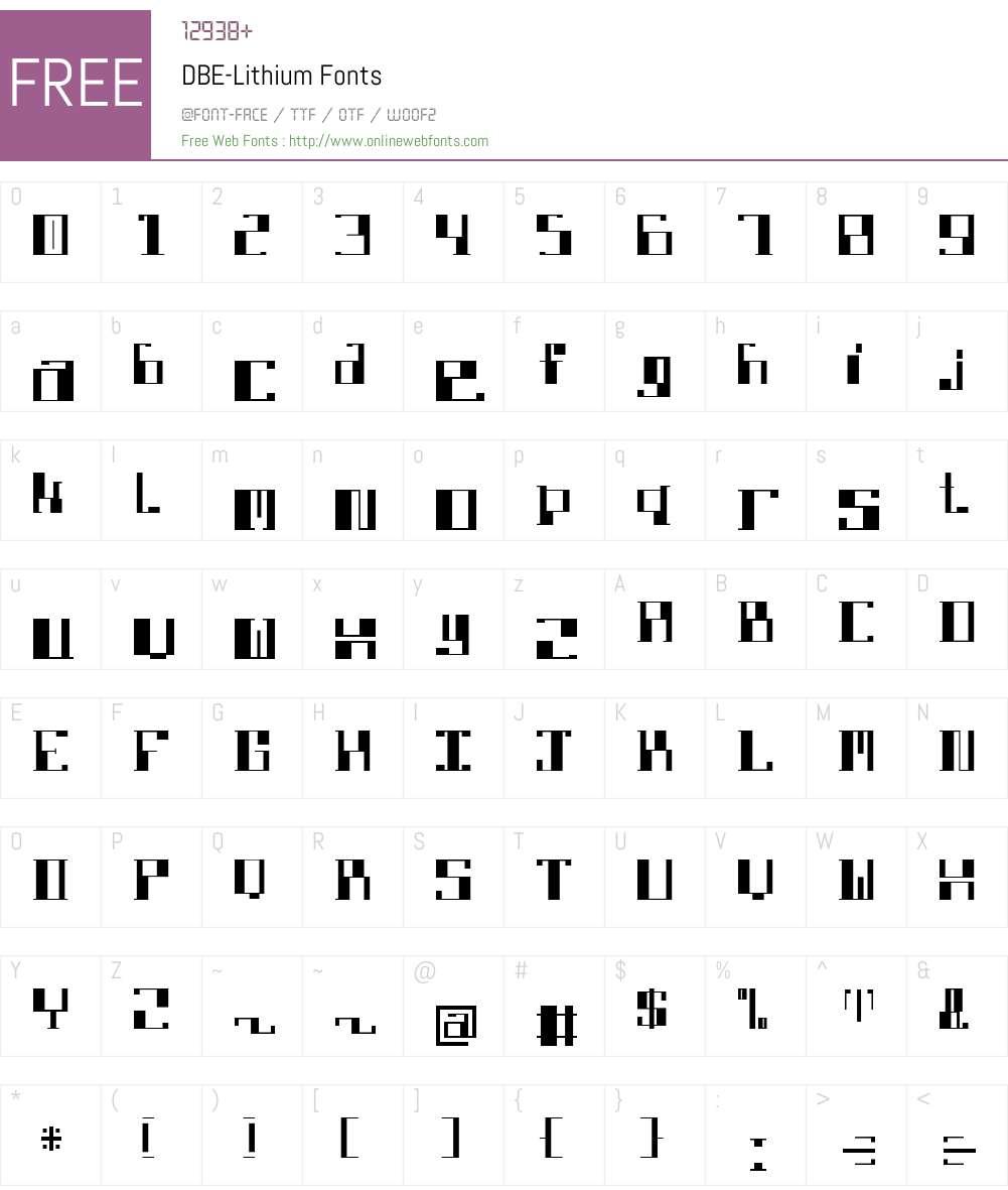 DBE-Lithium Font Screenshots