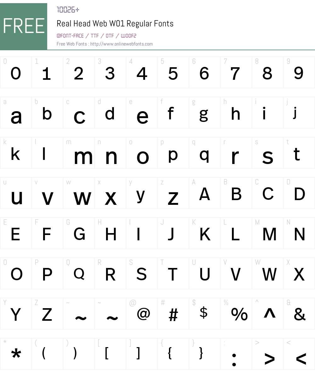 RealHeadWebW01-Regular Font Screenshots