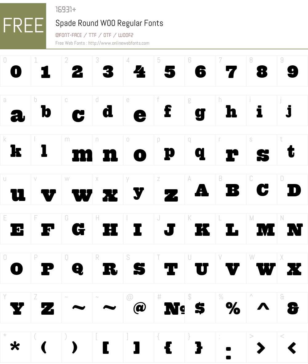 SpadeRoundW00-Regular Font Screenshots