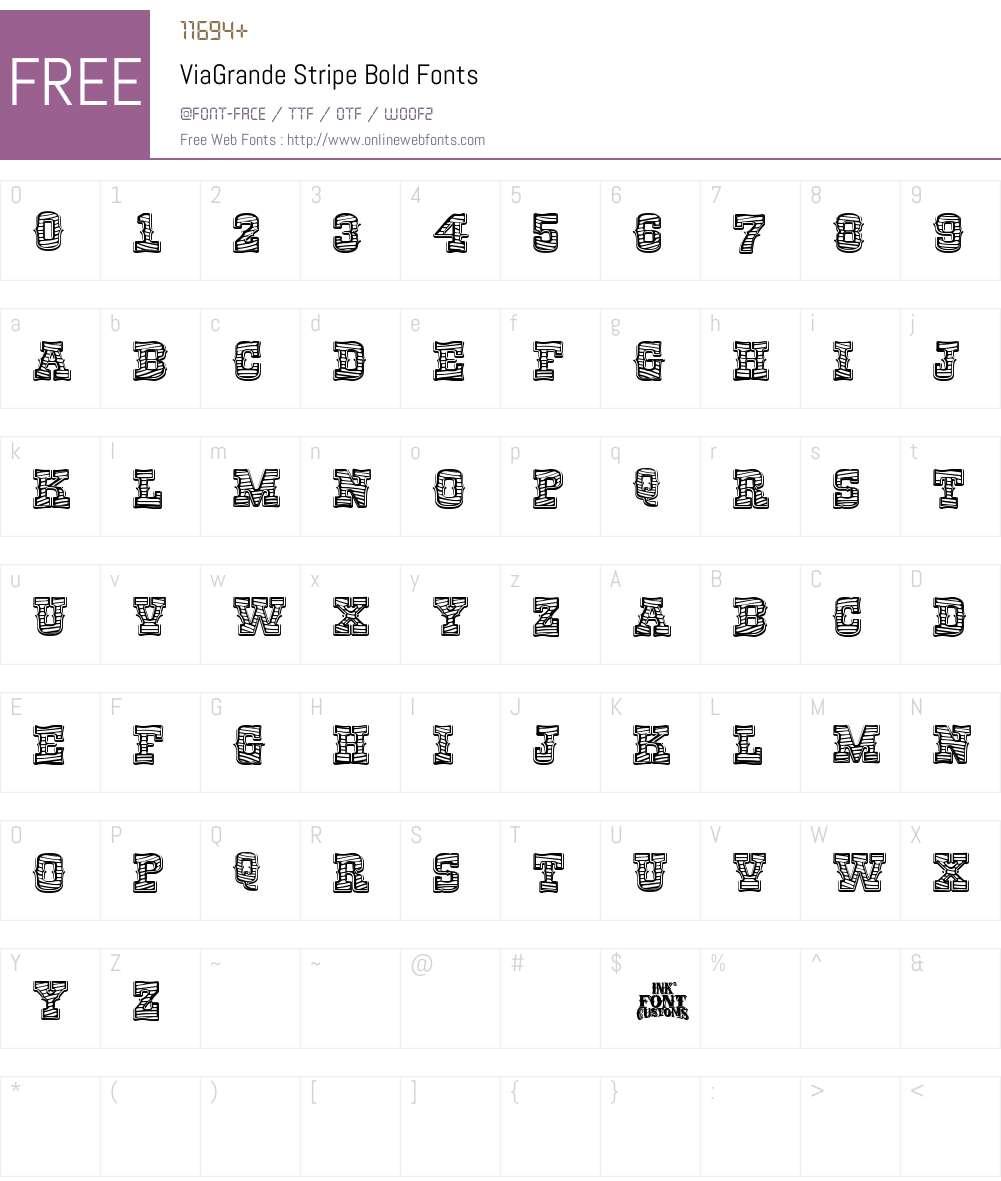 ViaGrande Stripe Font Screenshots
