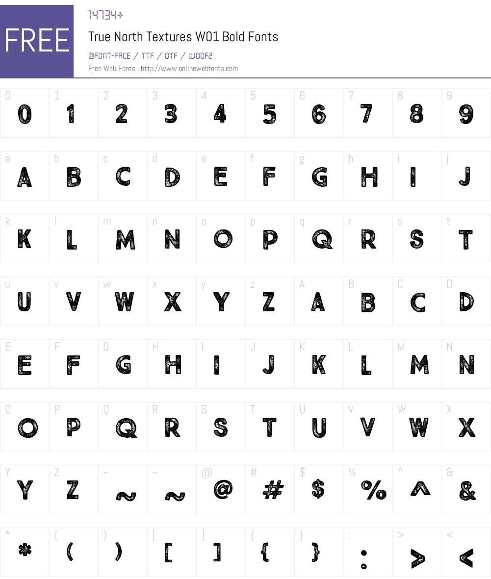 TrueNorthTexturesW01-Bold Font Screenshots