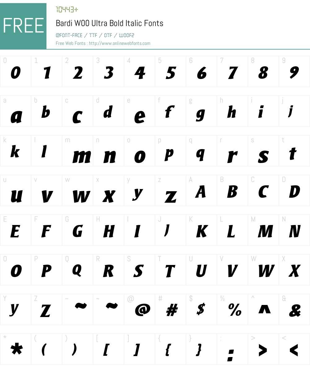 BardiW00-UltraBoldItalic Font Screenshots