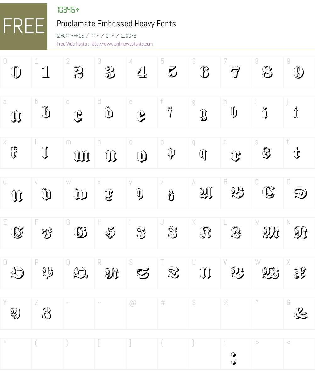Proclamate Embossed Font Screenshots
