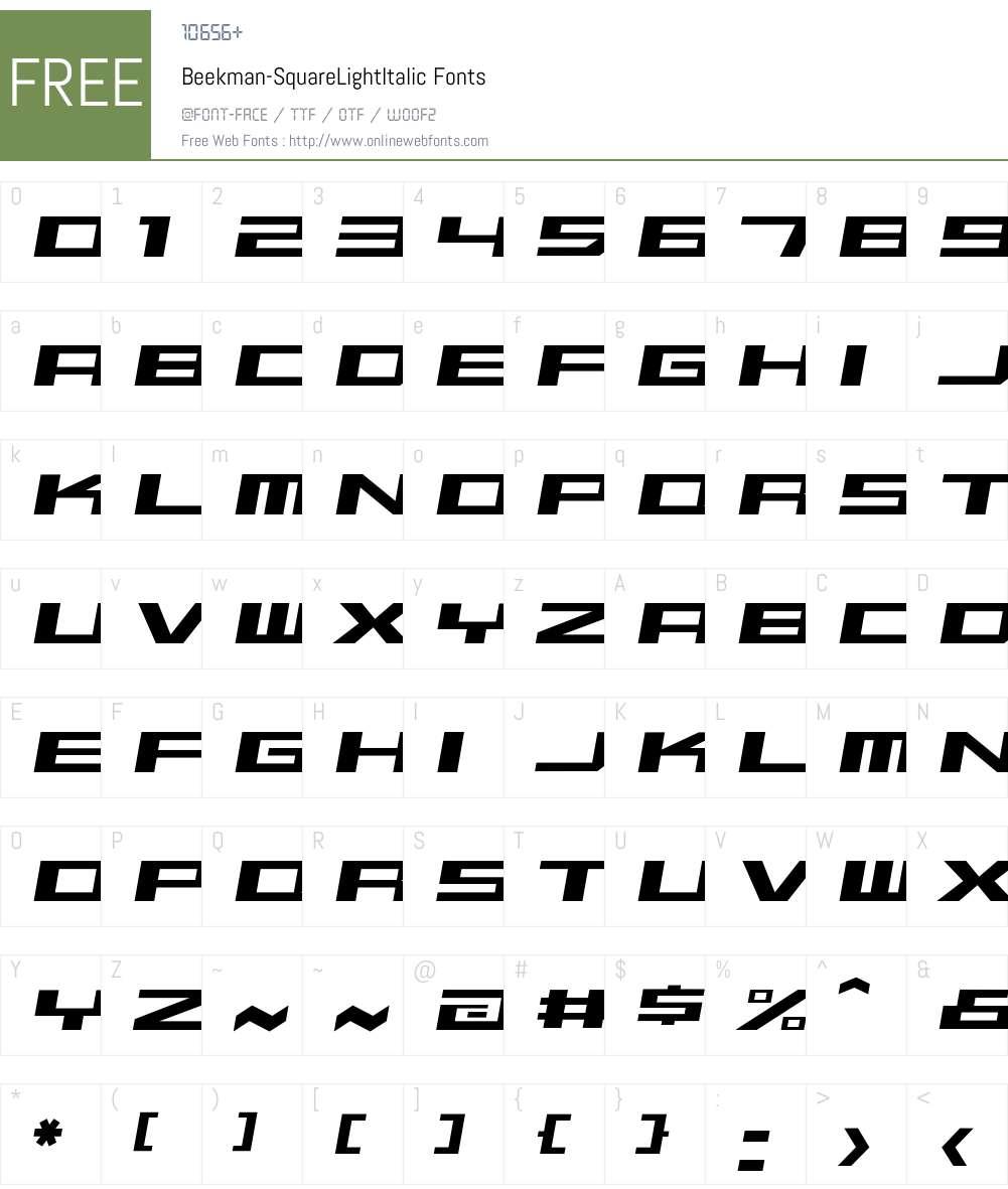 Beekman-SquareLightItalic Font Screenshots