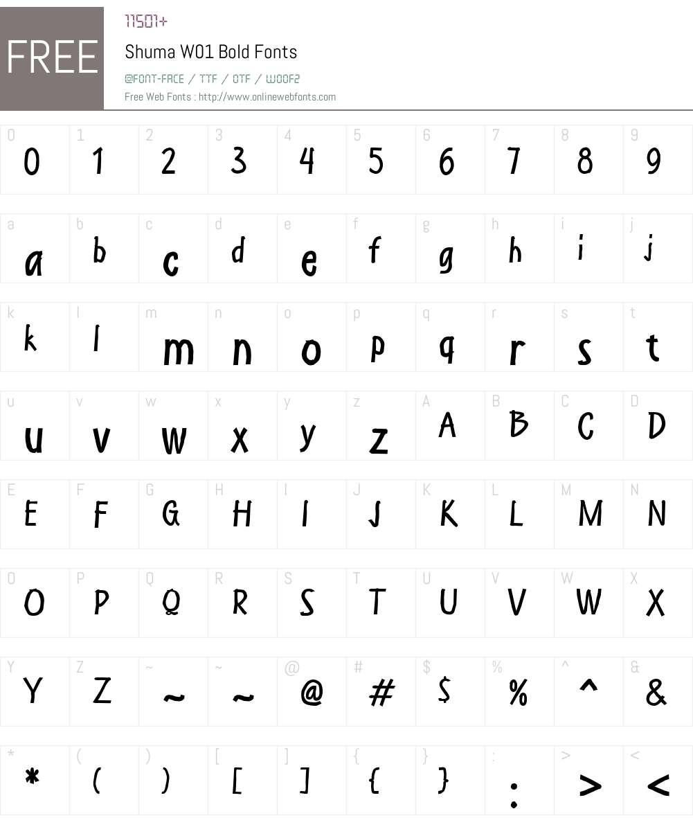 ShumaW01-Bold Font Screenshots