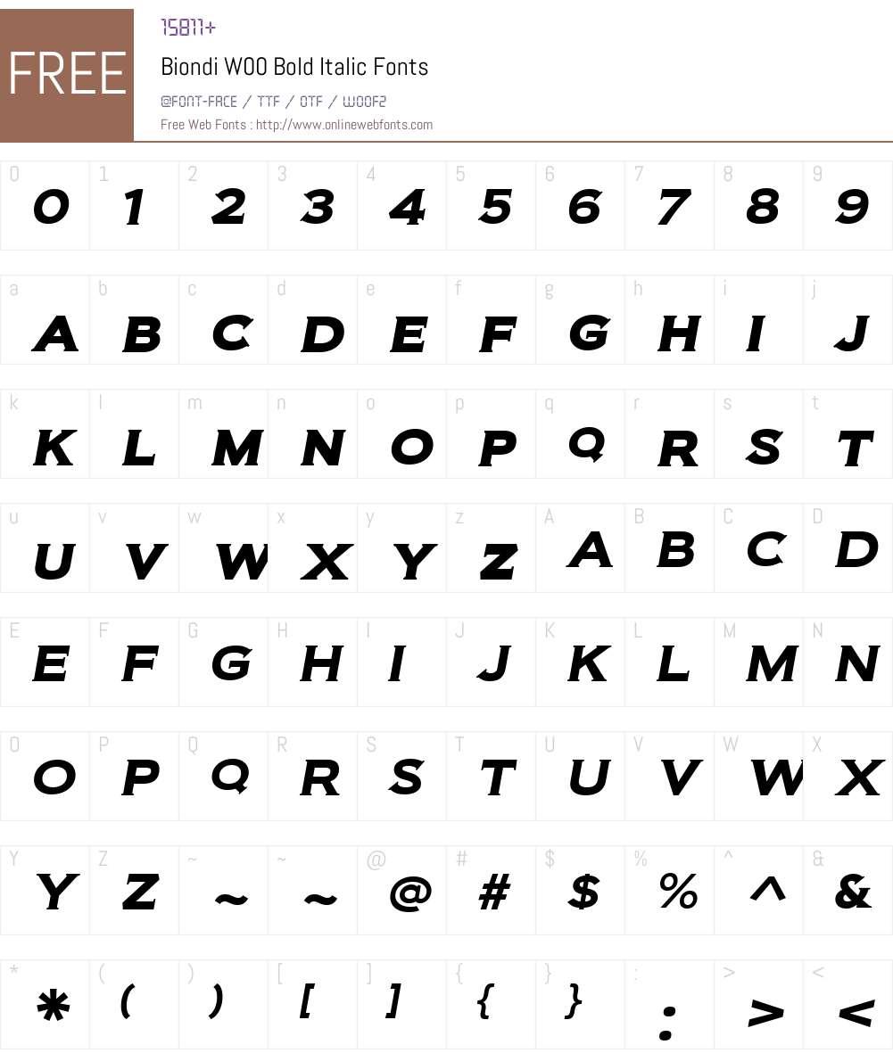 BiondiW00-BoldItalic Font Screenshots