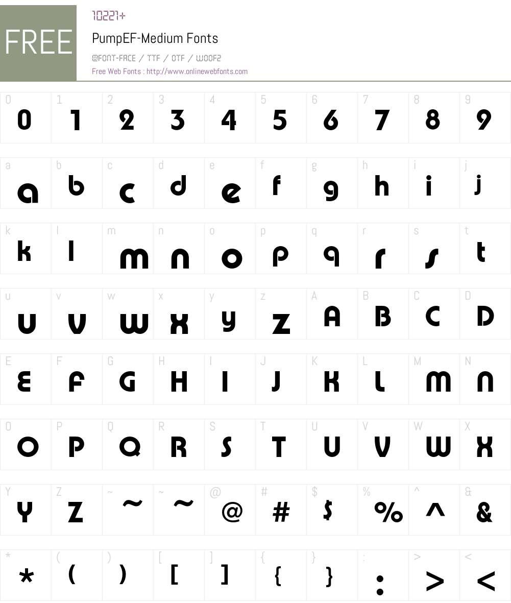PumpEF Font Screenshots