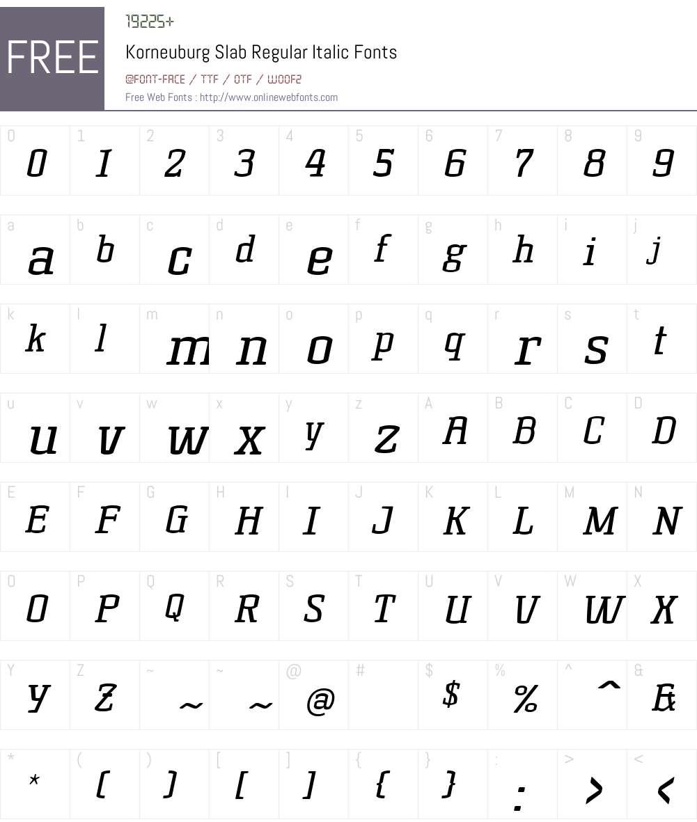 Korneuburg Slab Regular Font Screenshots