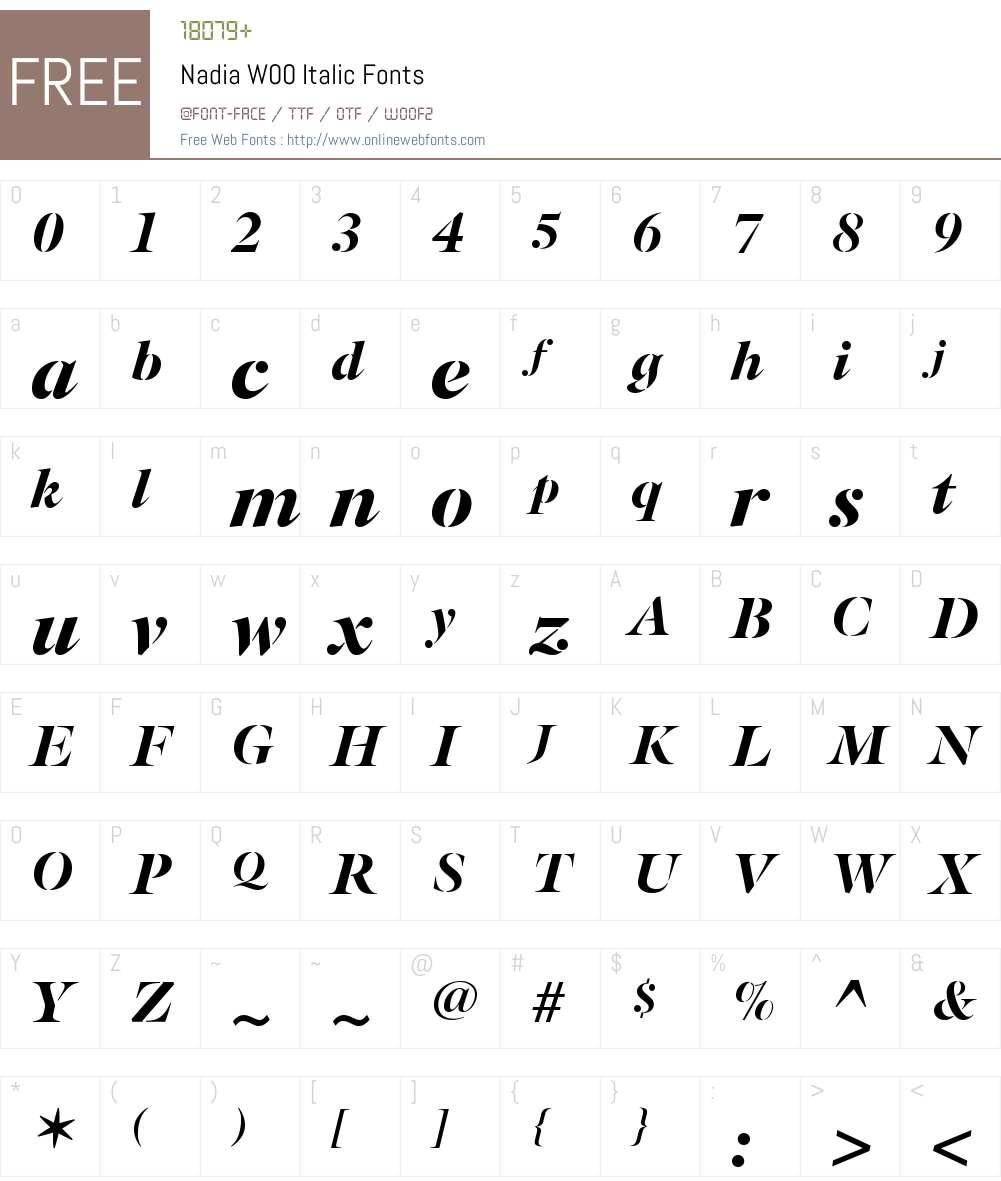 NadiaW00-Italic Font Screenshots