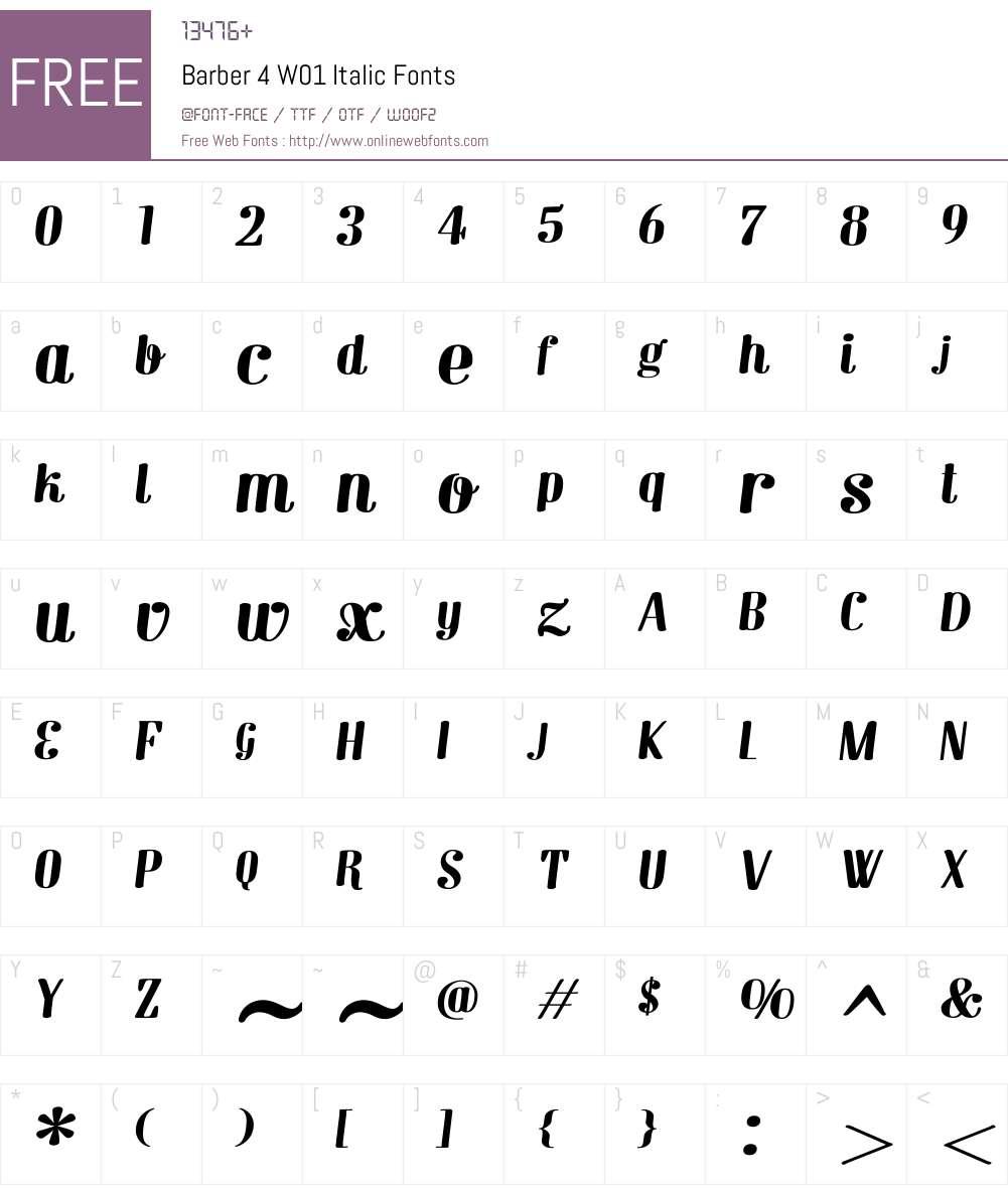 Barber4W01-Italic Font Screenshots