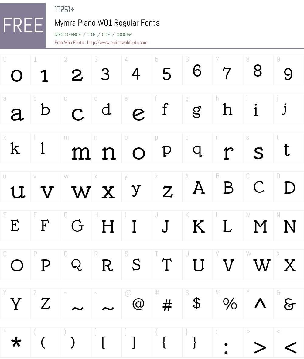 MymraPianoW01-Regular Font Screenshots