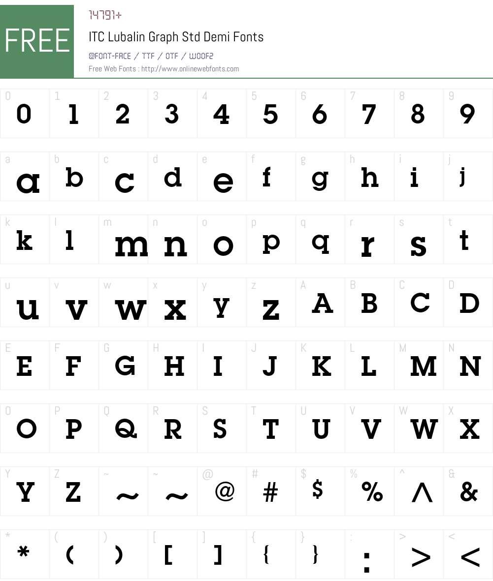 ITC Lubalin Graph Std Font Screenshots