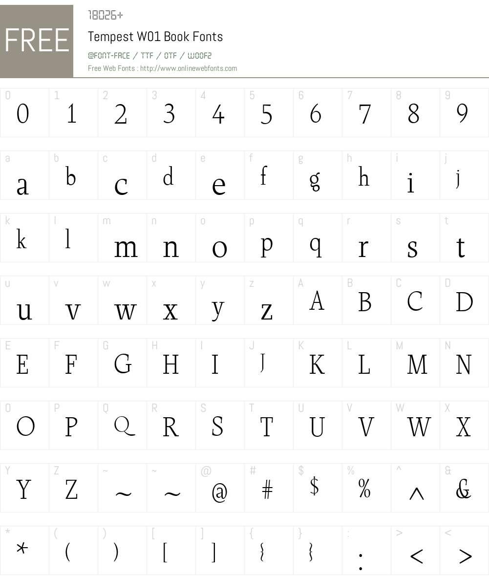TempestW01-Book Font Screenshots