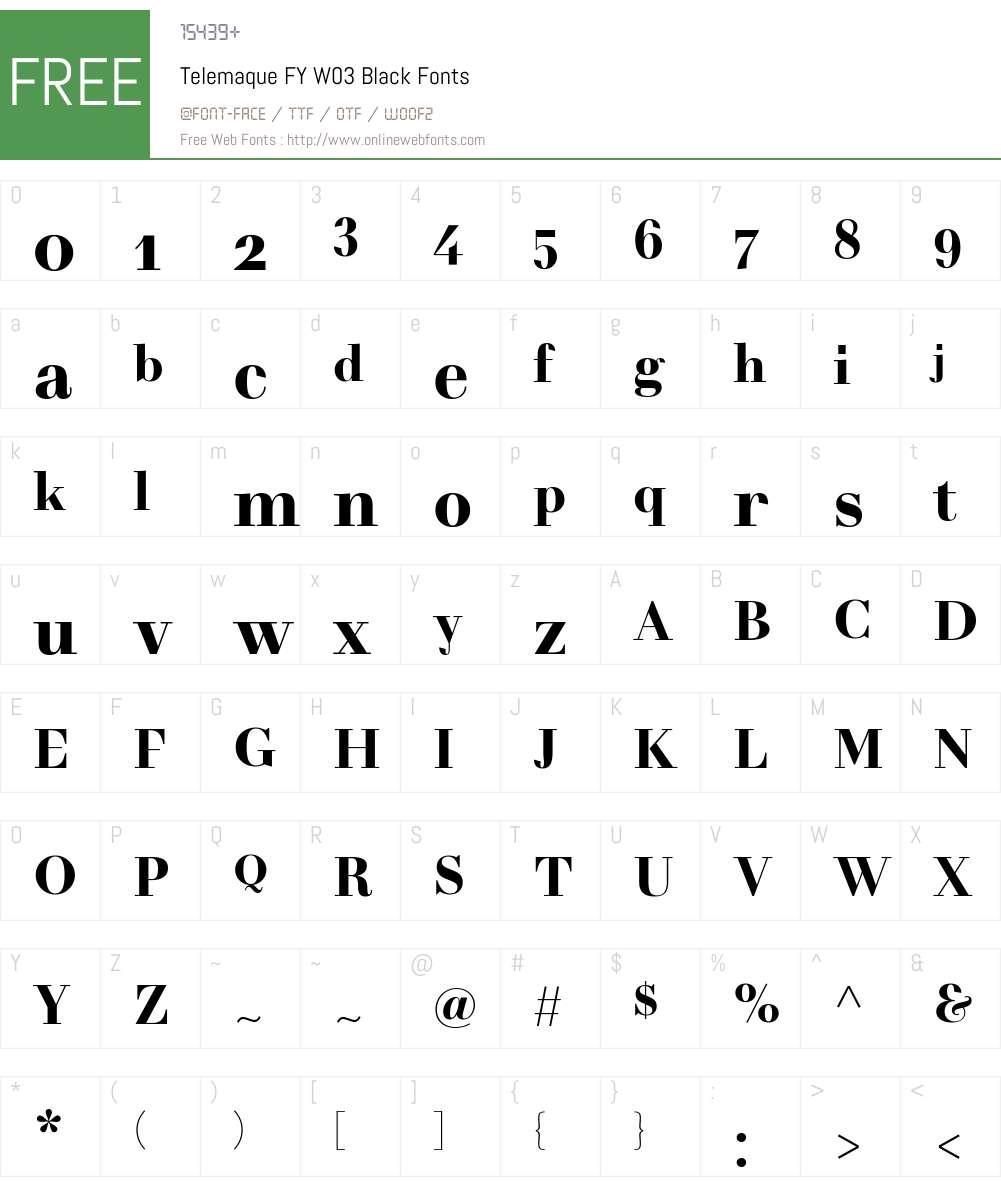 TelemaqueFYW03-Black Font Screenshots