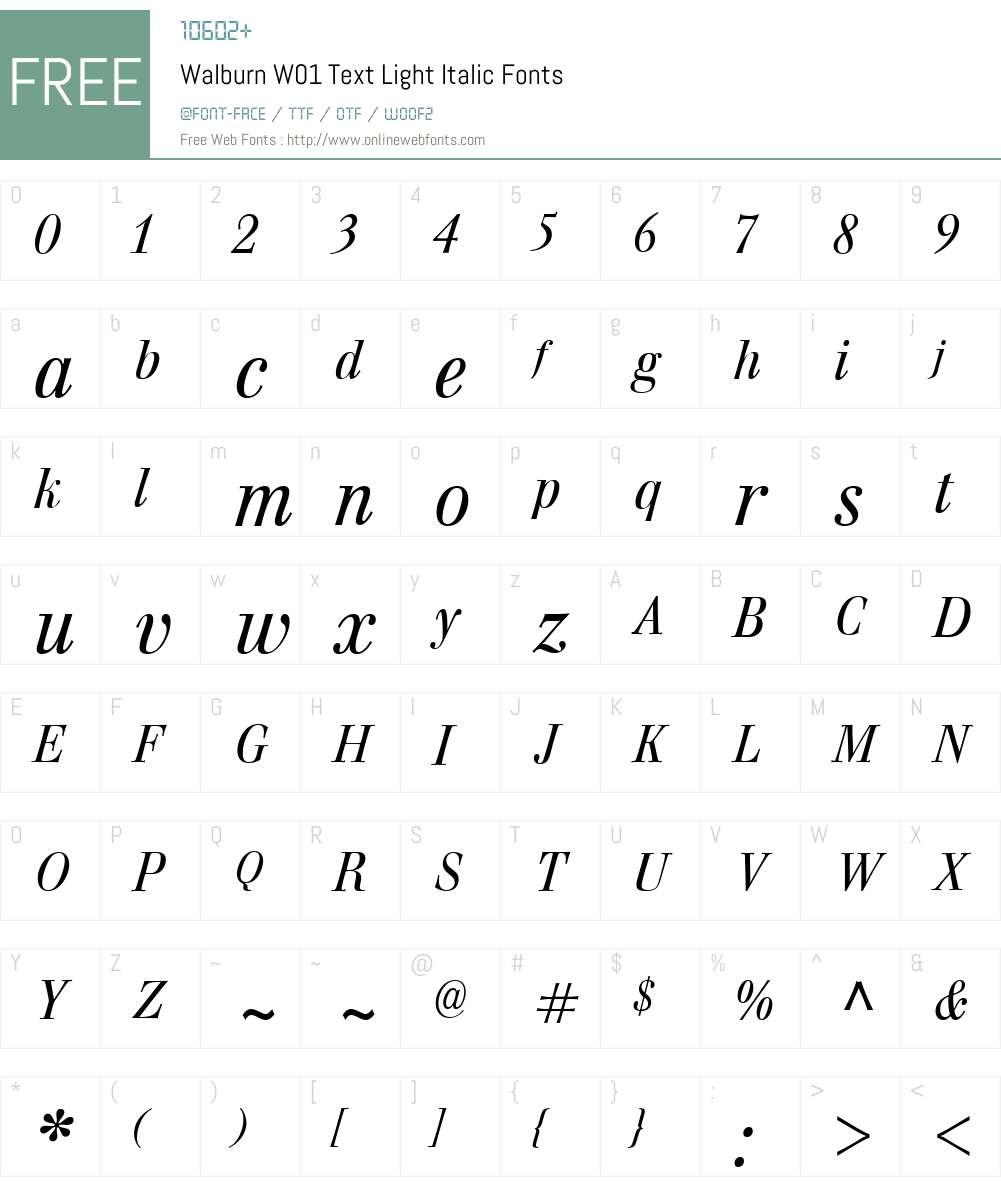 WalburnW01-TextLightItalic Font Screenshots