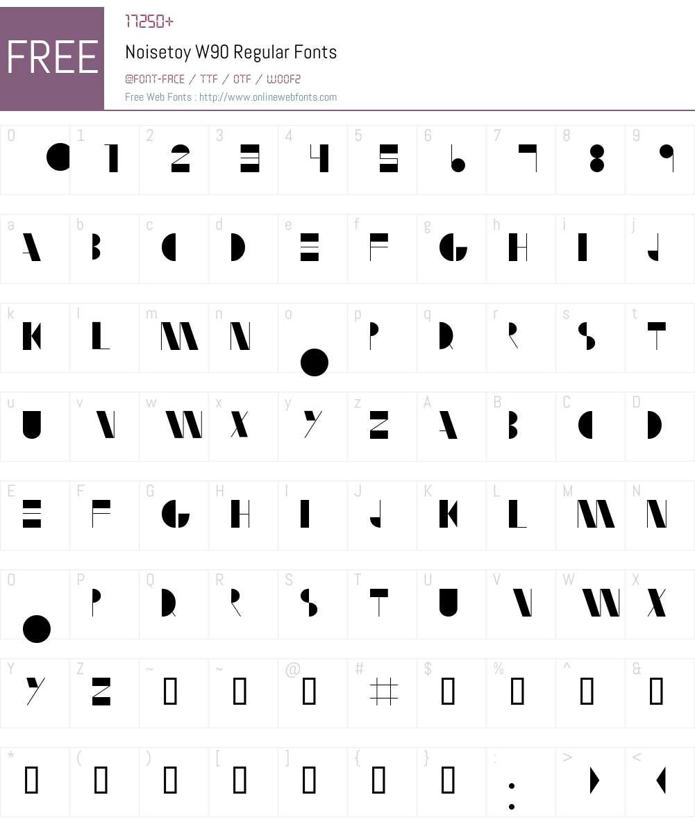 NoisetoyW90-Regular Font Screenshots