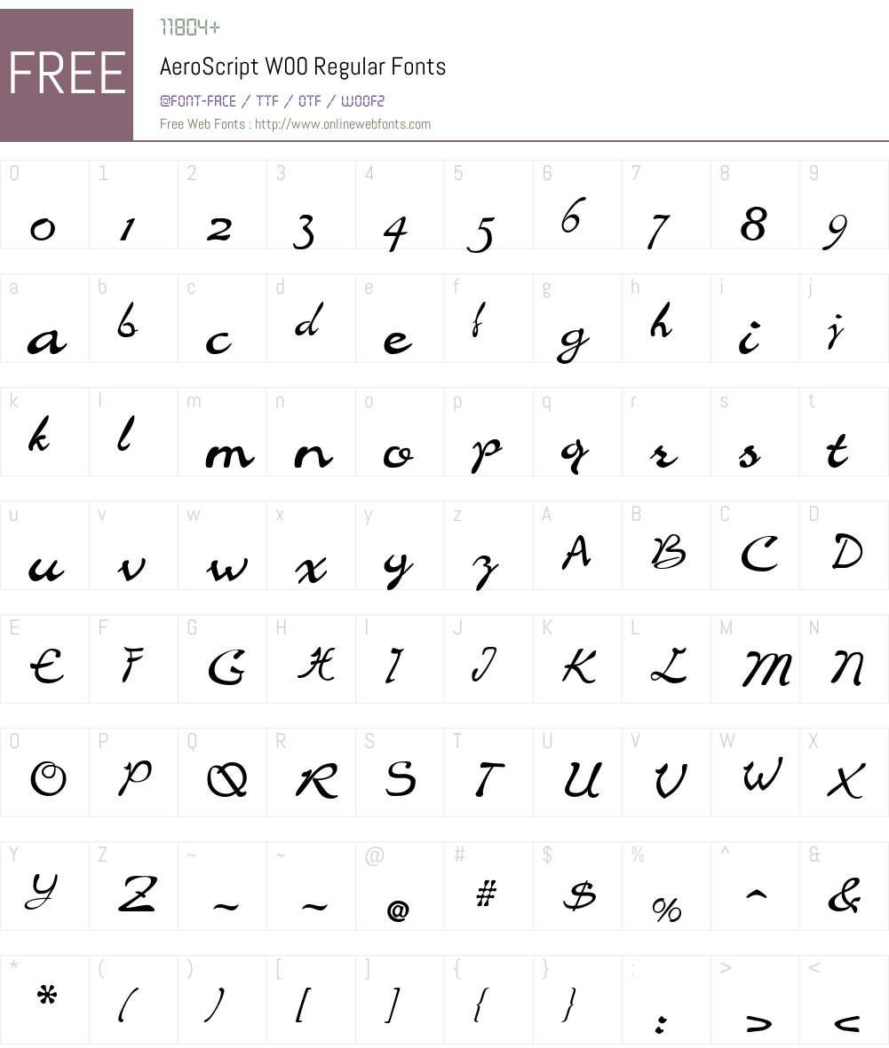 AeroScript Font Screenshots