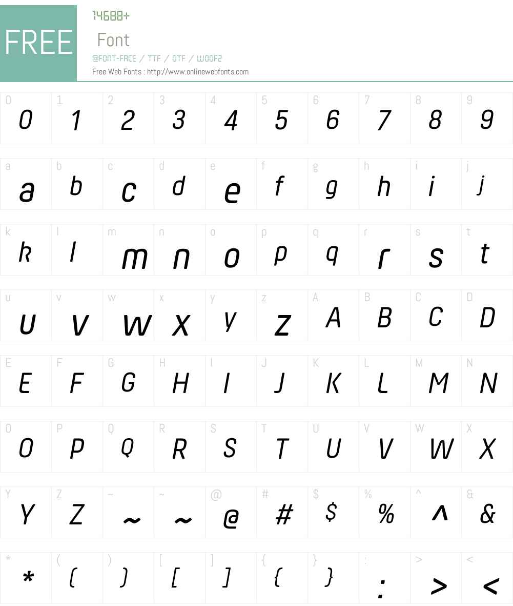 HansomFYW01-Italic Font Screenshots