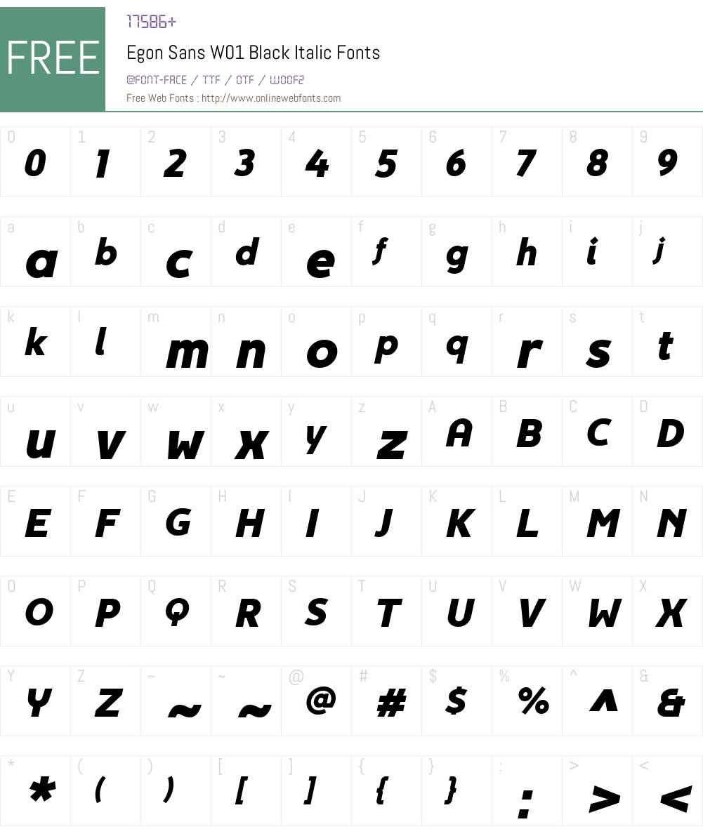 EgonSansW01-BlackItalic Font Screenshots