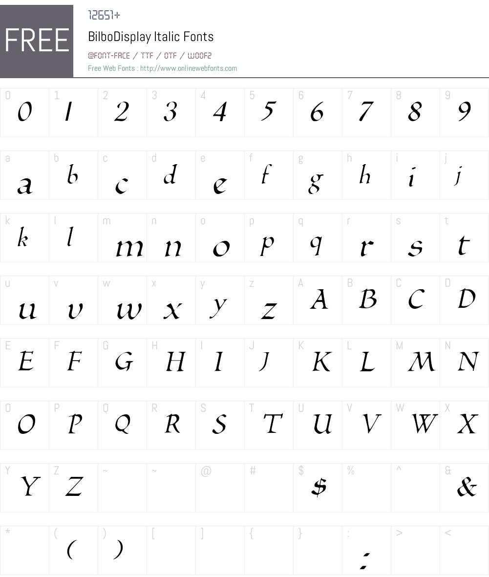 BilboDisplay Font Screenshots