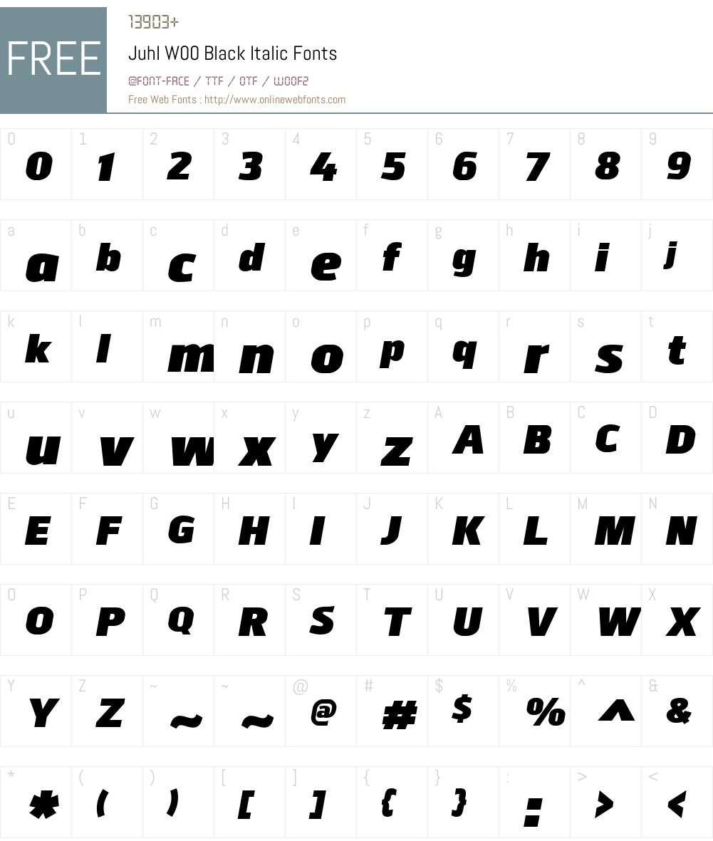 JuhlW00-BlackItalic Font Screenshots
