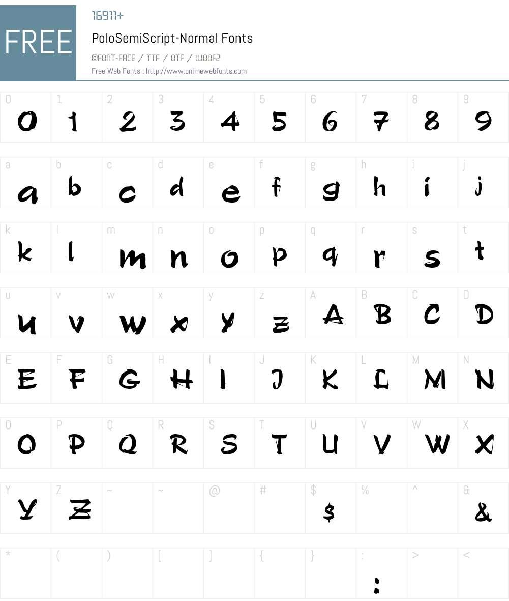 PoloSemiScript-Normal Font Screenshots