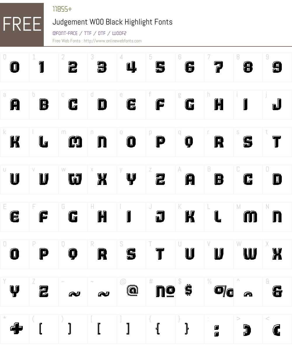 JudgementW00-BlackHighlight Font Screenshots