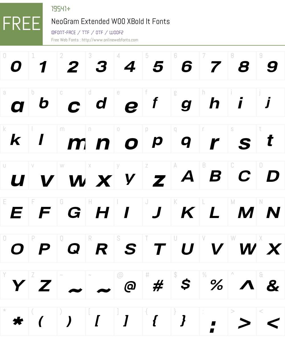 NeoGramExtendedW00-XBoldIt Font Screenshots